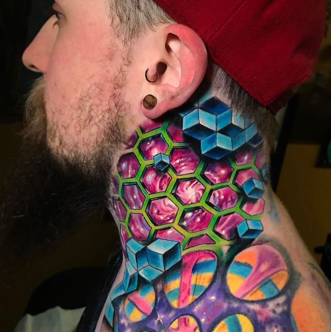 Trippy Geometric Space Neck Neck tattoo for guys