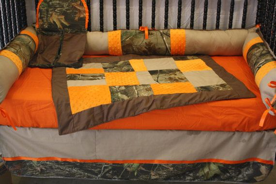 Orange Mossy oak Camo  crib baby bedding- Free personalized pillow on Etsy, $250.00