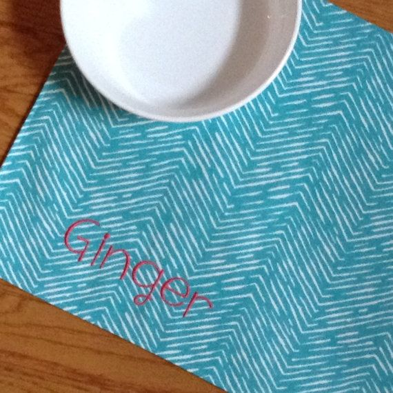 Personalized Pet Placemat, Embroidered Placemat for Dog or Cat, Gift for Pet Lovers