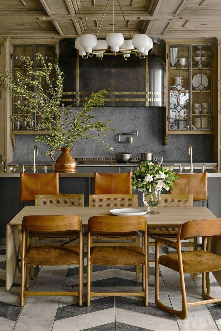 Incredible kitchen / dining room with herringbone tile floors