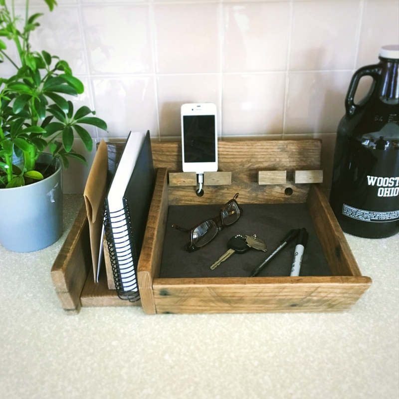 Countertop Governor Office Organizer Reclaimed Wood Desk Wooden Phone Dock Mail