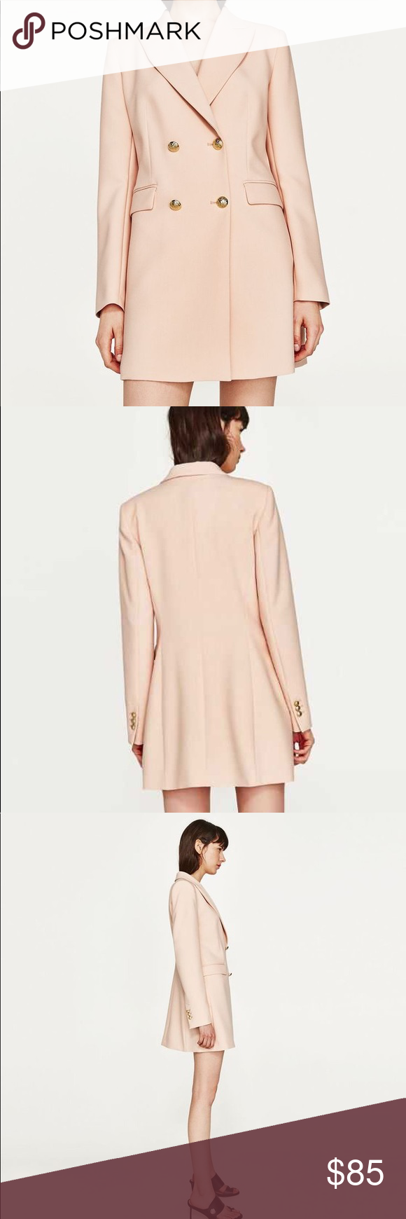 d2e13efb68 NWT ZARA DOUBLE BREASTED FROCK COAT DRESS Beautiful ZARA WOMAN DOUBLE  BREASTED FROCK COAT NUDE PINK