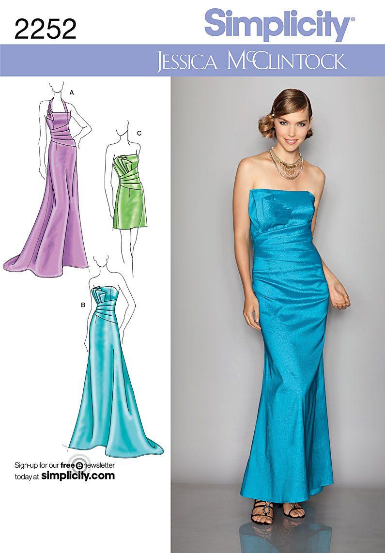 Dressmaking Sewing Pattern Simplicity 2252 Ladies Evening