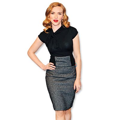"""Go High-Waisted  Whether you wear pants, or a skirt like Scarlett Johansson, a high waist downplays ab flab says stylist Rob Zangardi. """"The higher cut draws eyes to your true waist,"""" he says, which for many is the narrowest part of the torso."""