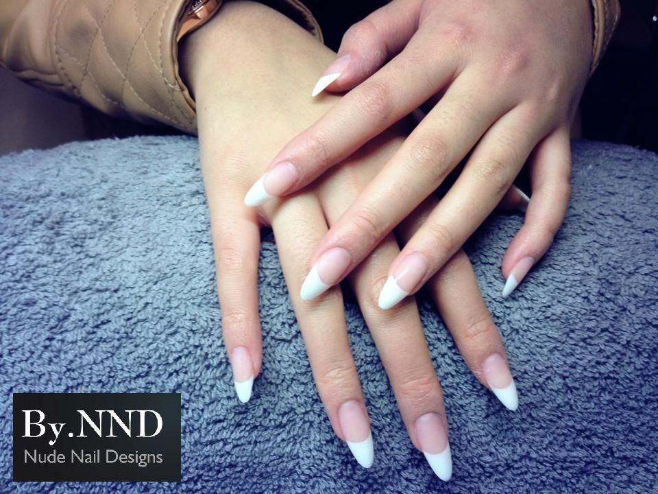 Almond nails, white french www.facebook.com/By.NND | My nailart ...