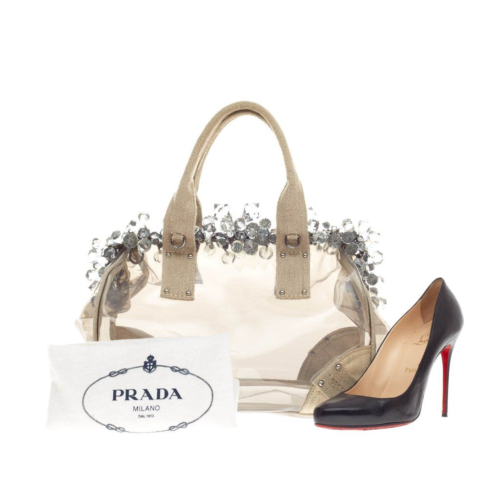 870e6039bb9b Online Sale - Authentic White Prada Mistolino Crystal Tote Vinyl and Canvas  at Trendlee.com. Guaranteed genuine! Financing available. 110504
