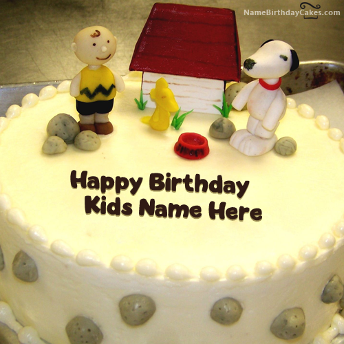 Write Name On Dog House Birthday Cake For Kids - Happy Birthday Wishes