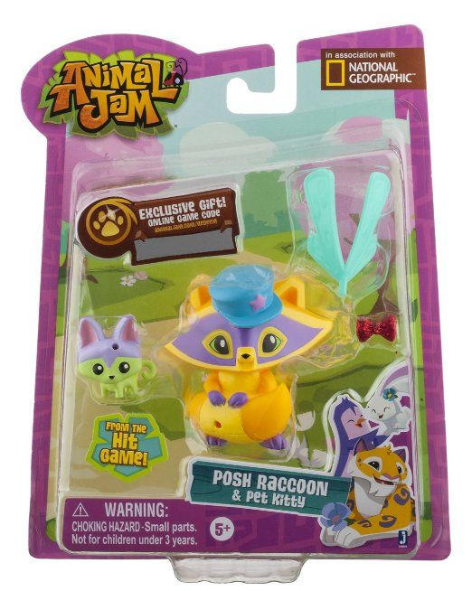 Amazon Com Animal Jam Posh Raccoon Pet Kitty Mini Figure 2 Pack