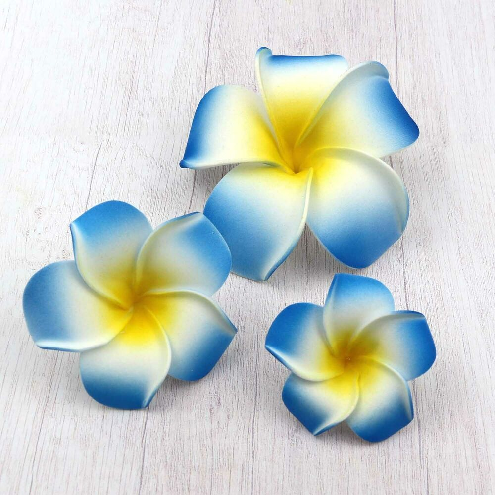 Ad Ebay 100 X Blue Hawaiian Frangipani Plumeria Foam Head Flower Wedding Diy Decor Frangipani Plumeria Hawaiian Flowers