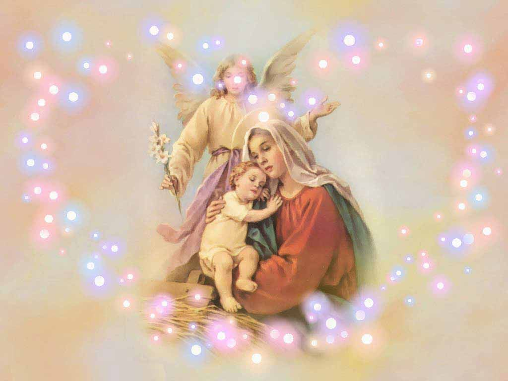 Mary Jesus And Angel Mother Mary Wallpaper Mother Mary Images Mother Mary
