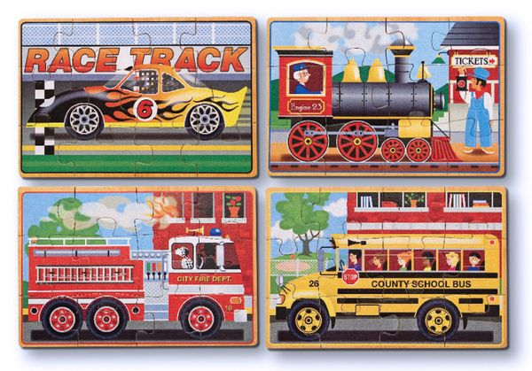 Set includes four wooden, 12-piece vehicle jigsaw puzzles-- a race car, a steam engine, a school bus and a fire engine-- each stored in a separate compartment of a sturdy wooden box!