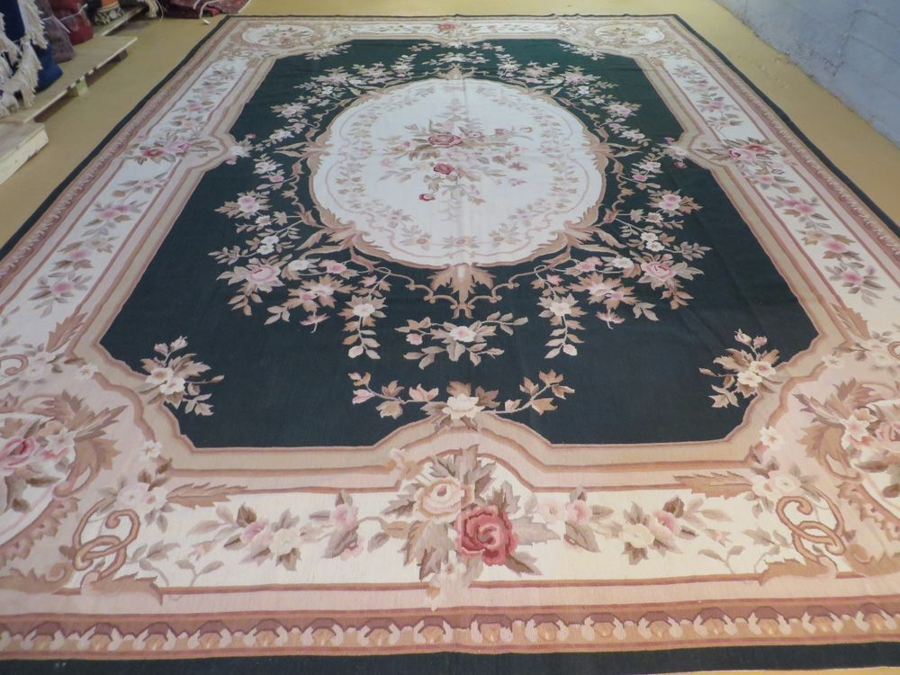 10 X 14 Handmade French Aubusson Savonnerie Design Needlepoint Rug Nice Green Traditionaleuropean