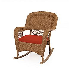 Charlottetown Natural Rocking Chair With Quarry Red Cushions