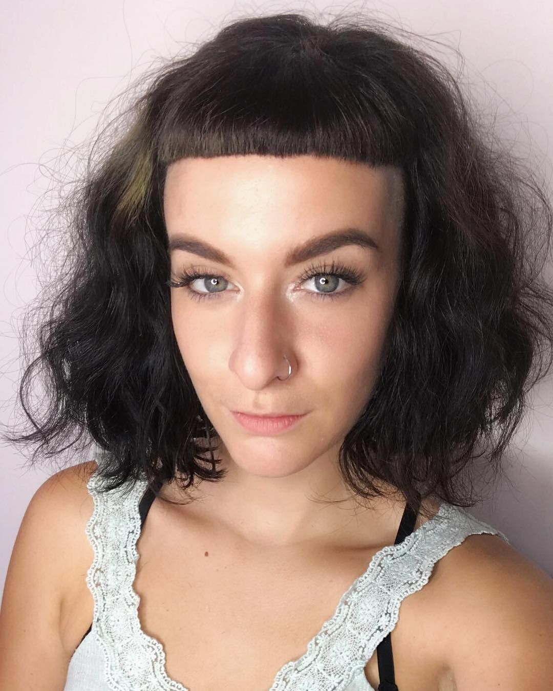 All sizes soft wavy fringe bob with micro bangs and