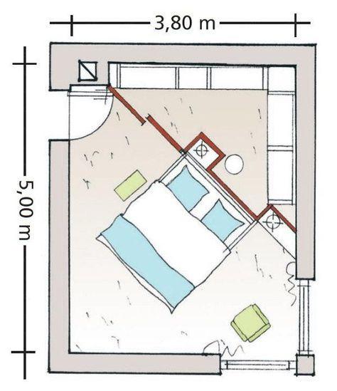 Begehbarer kleiderschrank grundriss  Diagonal geteiltes Schlafzimmer | Grundrisse, Schlafzimmer und Wohnen
