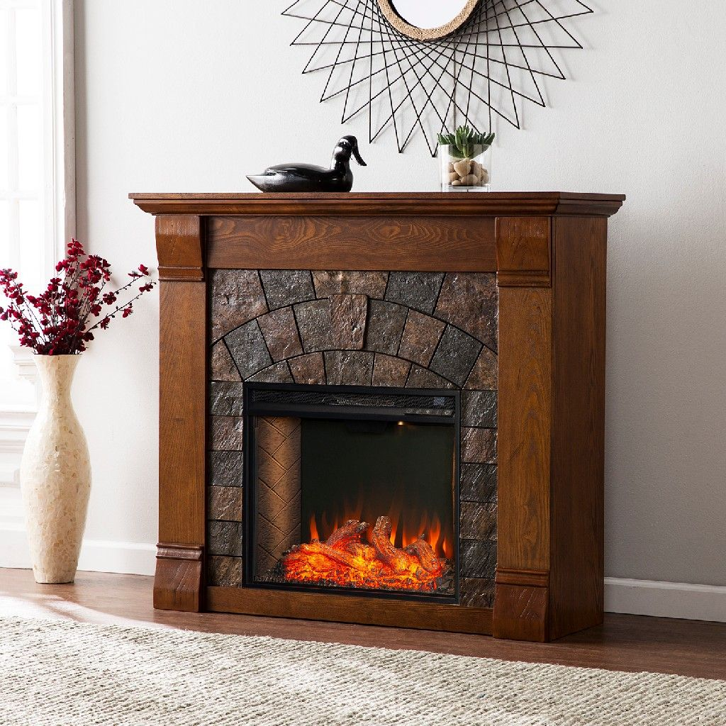 Elkmont Faux Stone Smart Electric Fireplace Southern