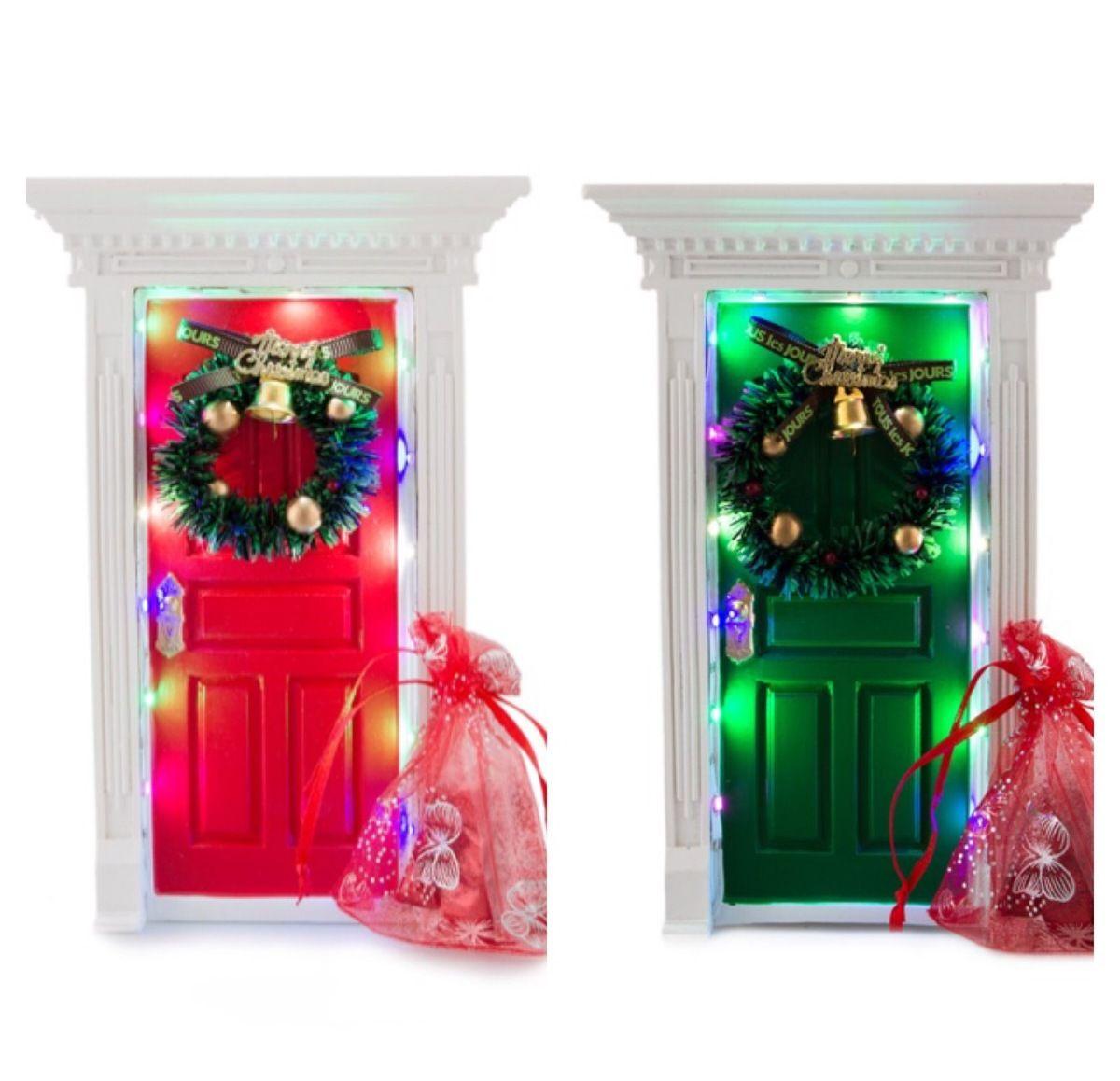 Christmas Light Up Magical Elf Santa Fairy Door In Green Or Red