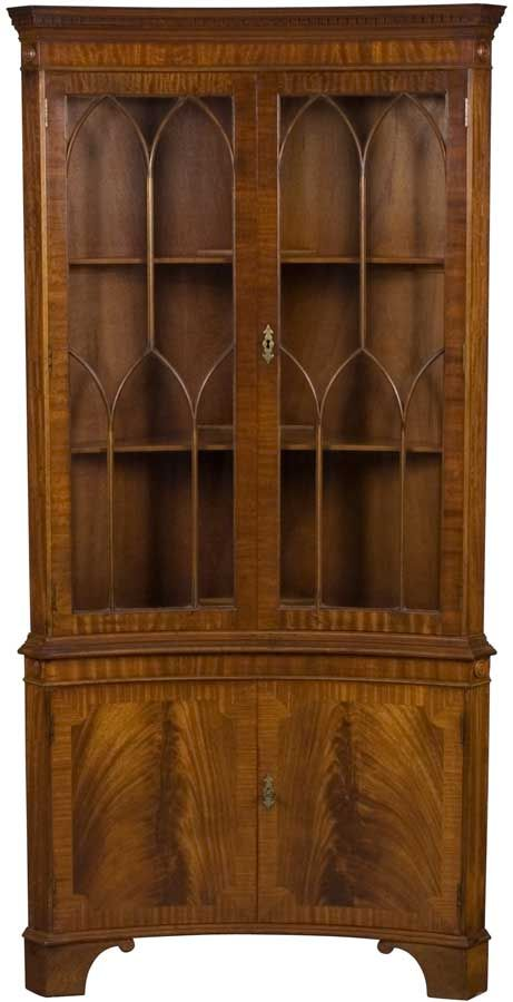 Mahogany Corner Cabinet, Inverted Bow Front With Gothic Arches Fretwork.