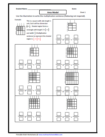 fraction multiplication area model  fractions worksheets  fraction multiplication area model