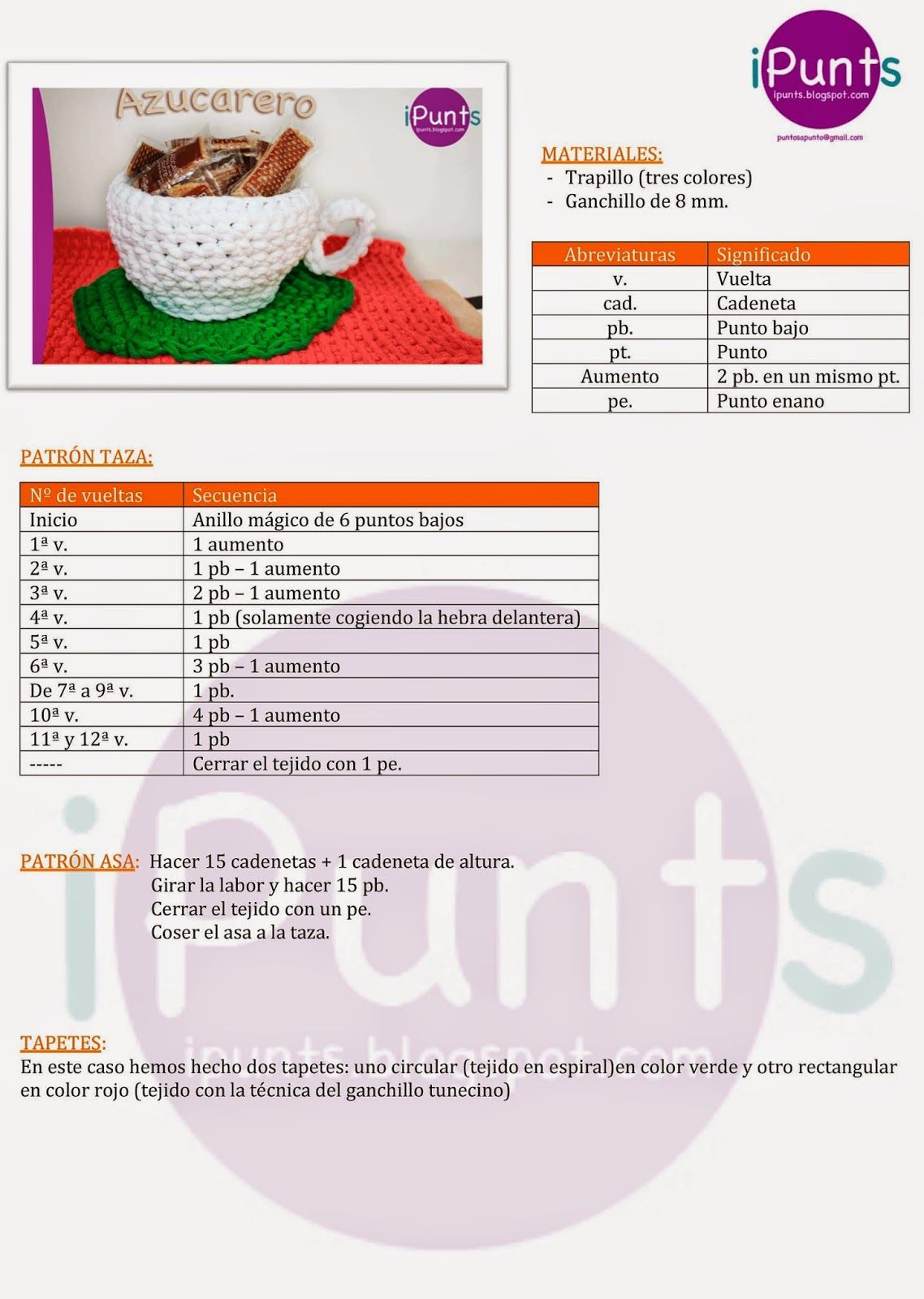 azucarero trapillo crochet ganchillo patron gratis ipunts | comida ...