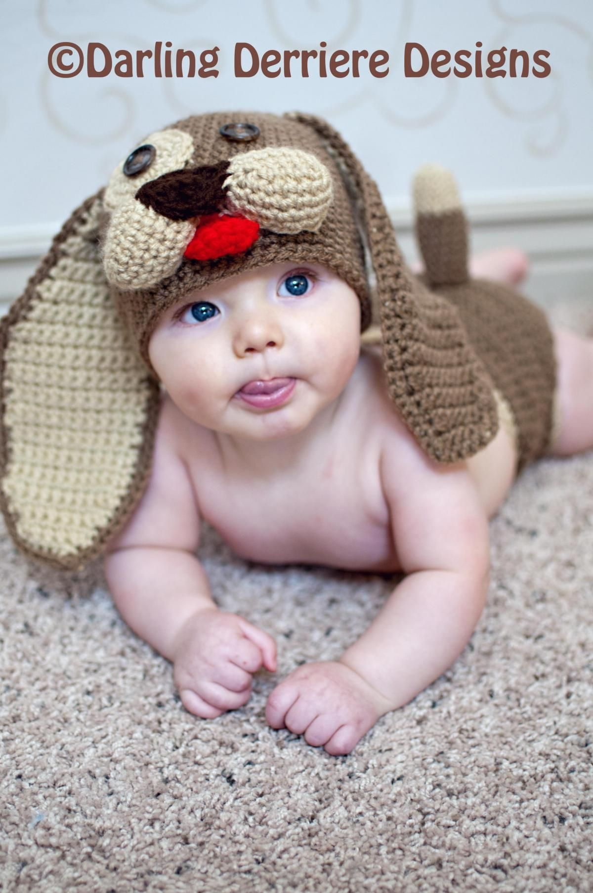 SOOOO Cute! Baby Puppy Hat and Diaper Cover Crochet Pattern PDF ...