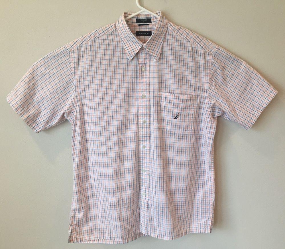 Nautica Mens Shirt Plaid White Multicolor Short Sleeve Button Down L