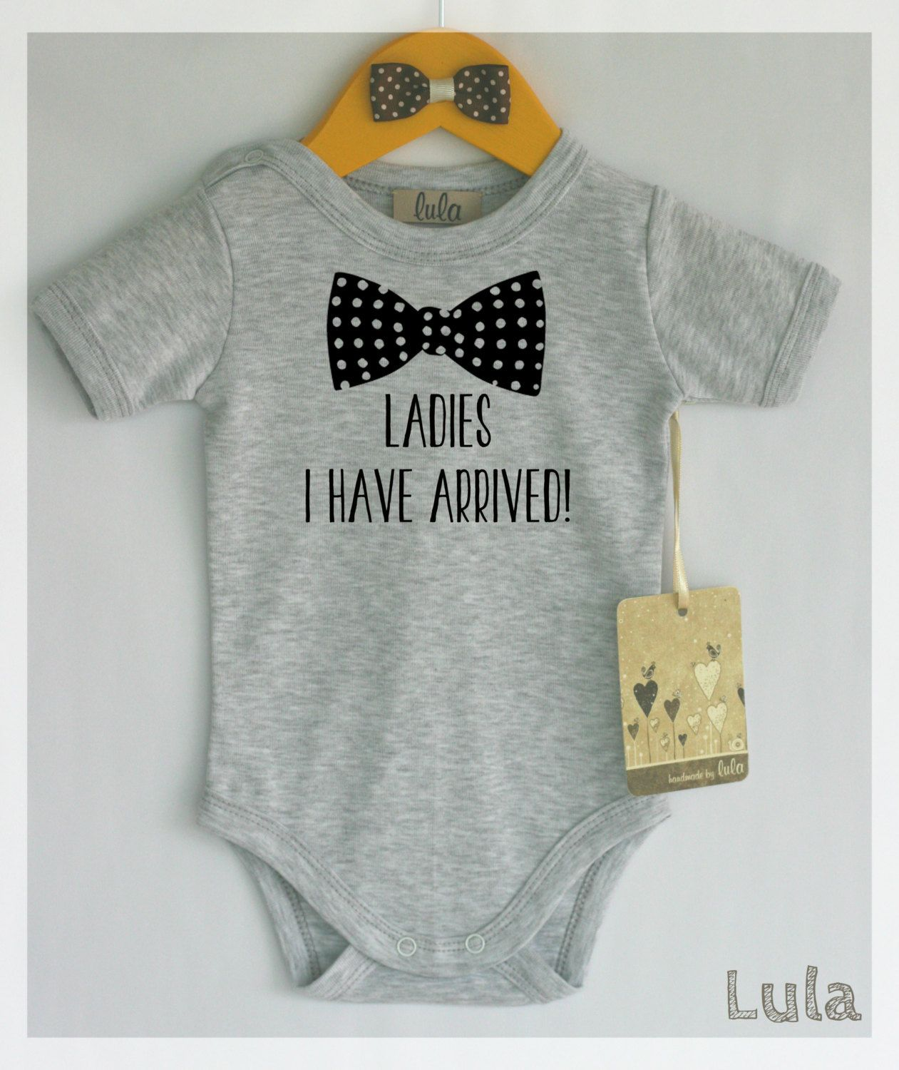 Newborn  Coming Home Outfit Baby Boy Hello Ladies I Have Arrived Bodysuit Different Colors Black Flock Take Home Outfit Baby Boys