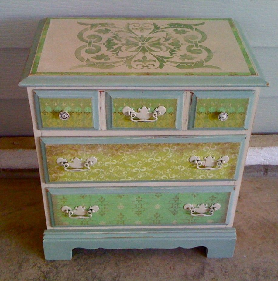 Painting furniture designs - Furniture Casual Furniture For Bedroom Decoration With Light Green Ombre Stencils Painting Dresser
