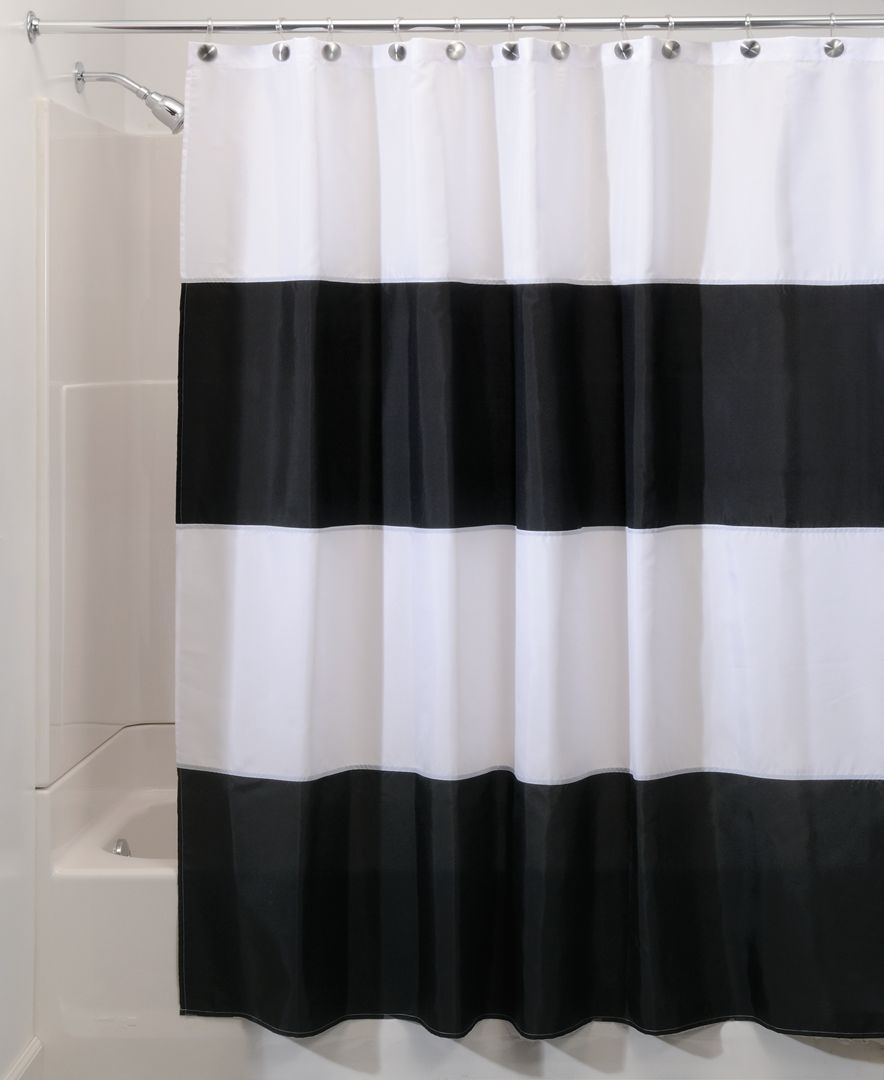 Interdesign Zeno Stripe 72 X 84 Shower Curtain Reviews Shower Curtains Bed Bath Macy S In 2020 Black Curtains Striped Shower Curtains Long Shower Curtains