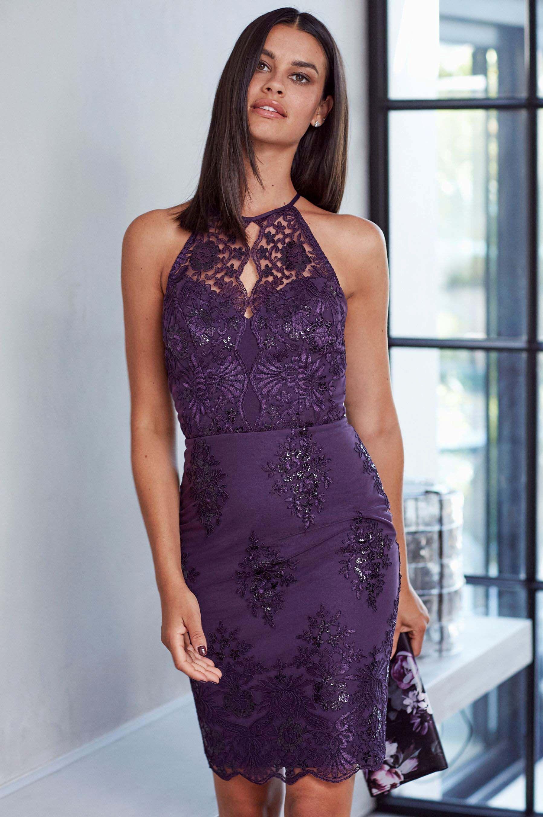 06aca71d788 Womens Lipsy Sequin Apron Neck Bodycon Dress - Purple   Products ...