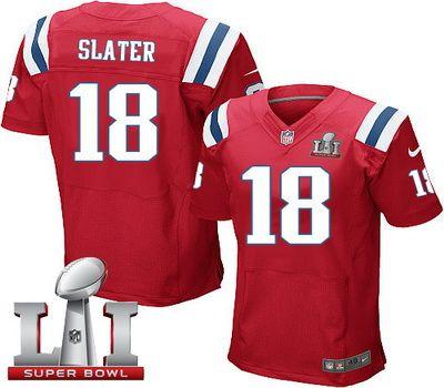 Nike Patriots #18 Matt Slater Red Alternate Super Bowl LI 51 Men's Stitched NFL Elite Jersey
