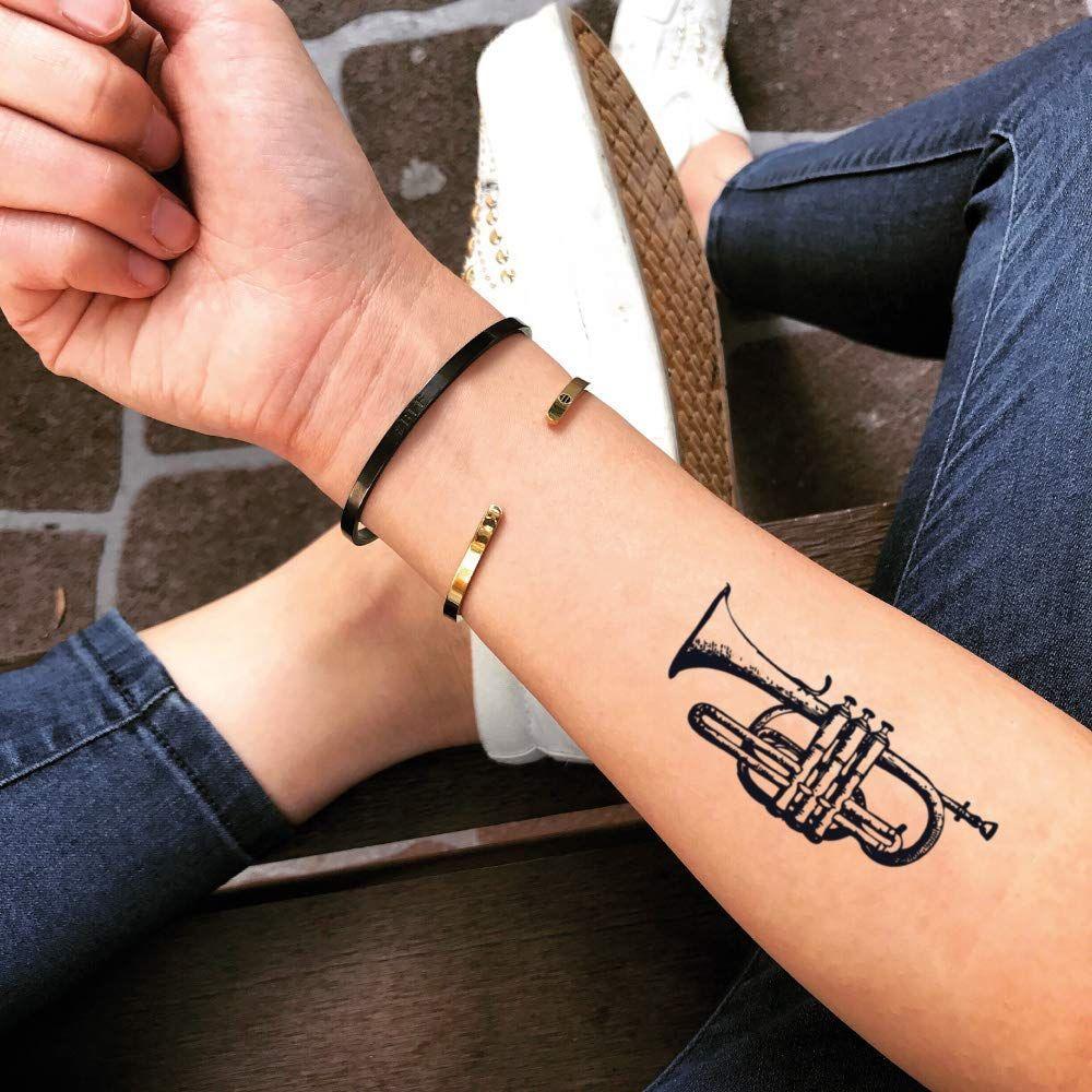 Lady Gaga Trumpet Temporary Tattoo Sticker Set Of 2 Trumpet