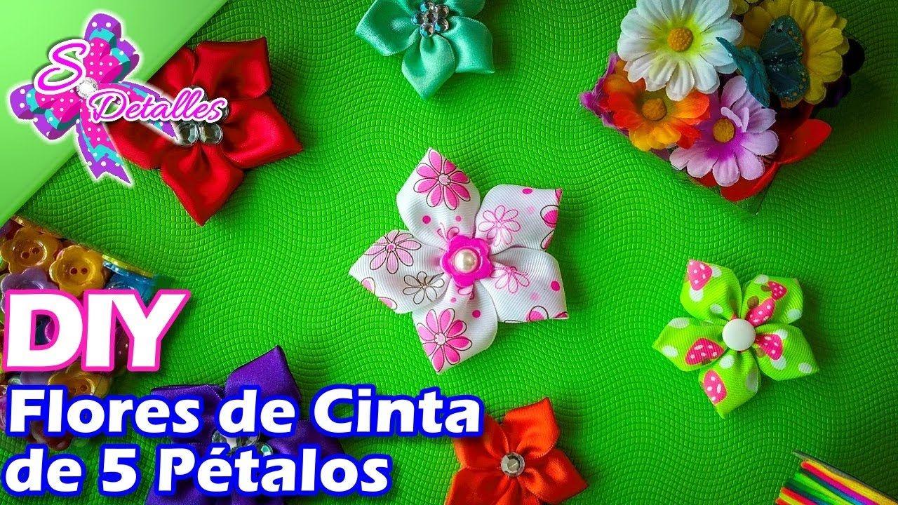 Flores de Cinta de 5 Pétalos/ 5 Petals Strap Flower   Video# 15 ...