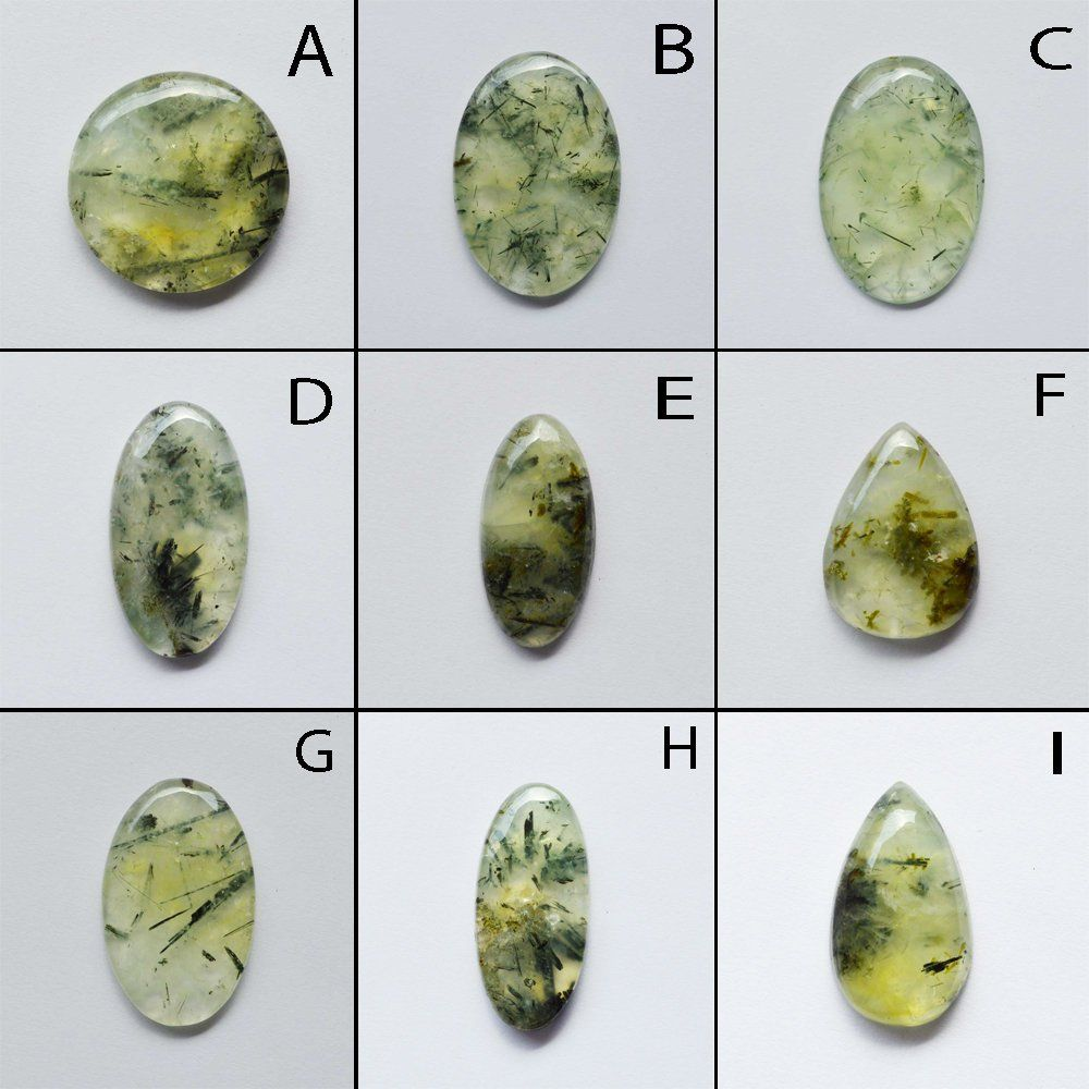 Natural PREHNITE Cabochon Amazing A+ 75 Ct #14 Quality PREHNITE Loose Stone Semi Precious Hand Polish For Jewelry Making 5 Piece Lot