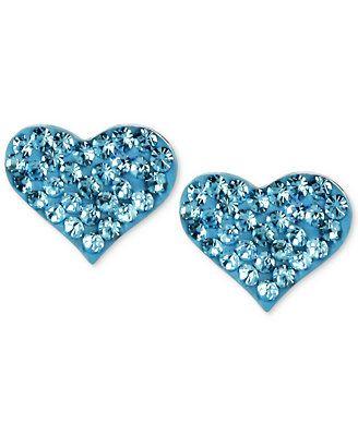 Betsey Johnson Silver-Tone Heart Blue Crystal Stud Earrings  #IDoBetseyBlue #Sponsored