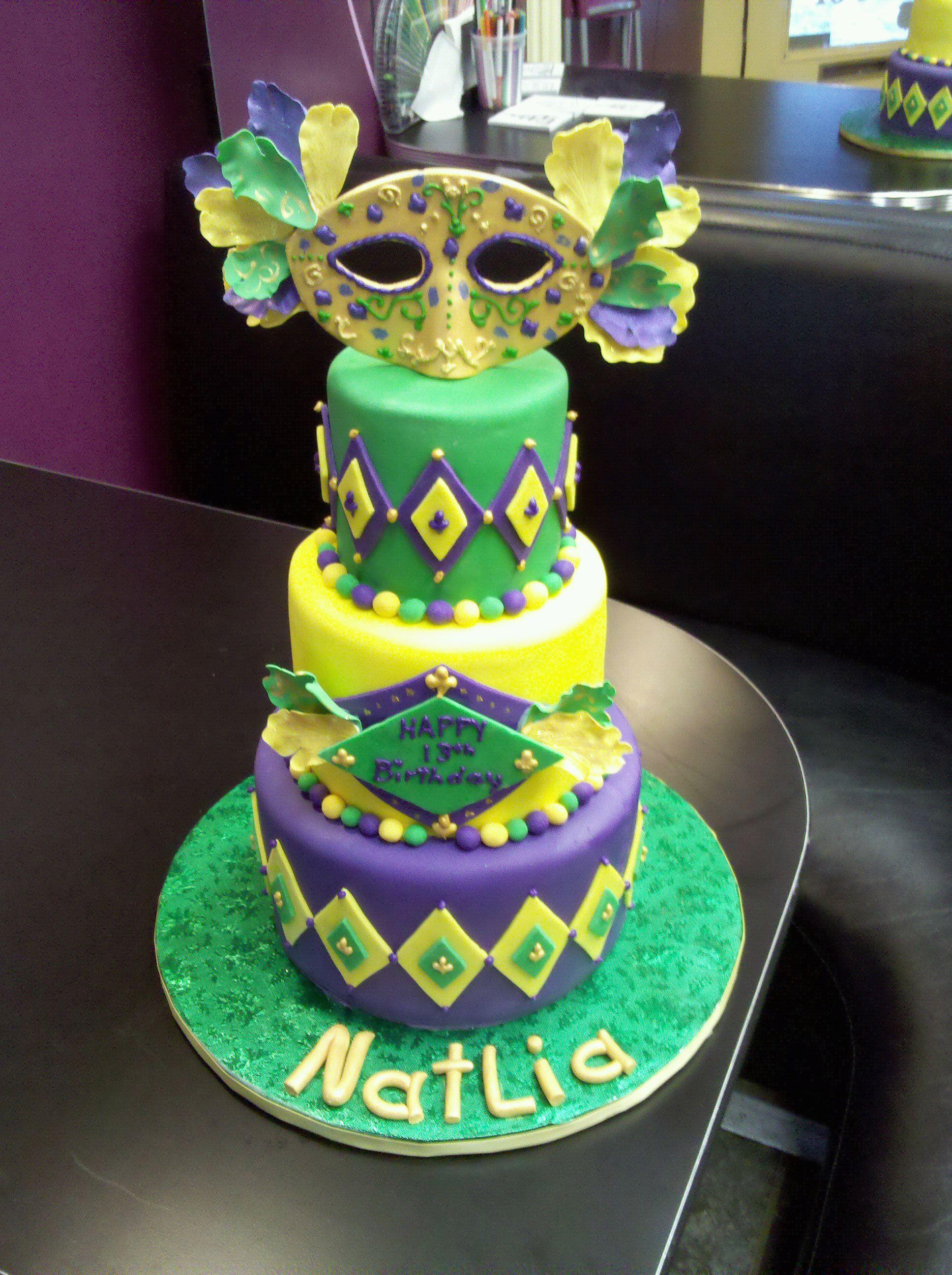 Mardi Gras Birthday Cake Mardi Gras Cakes Pinterest Birthday