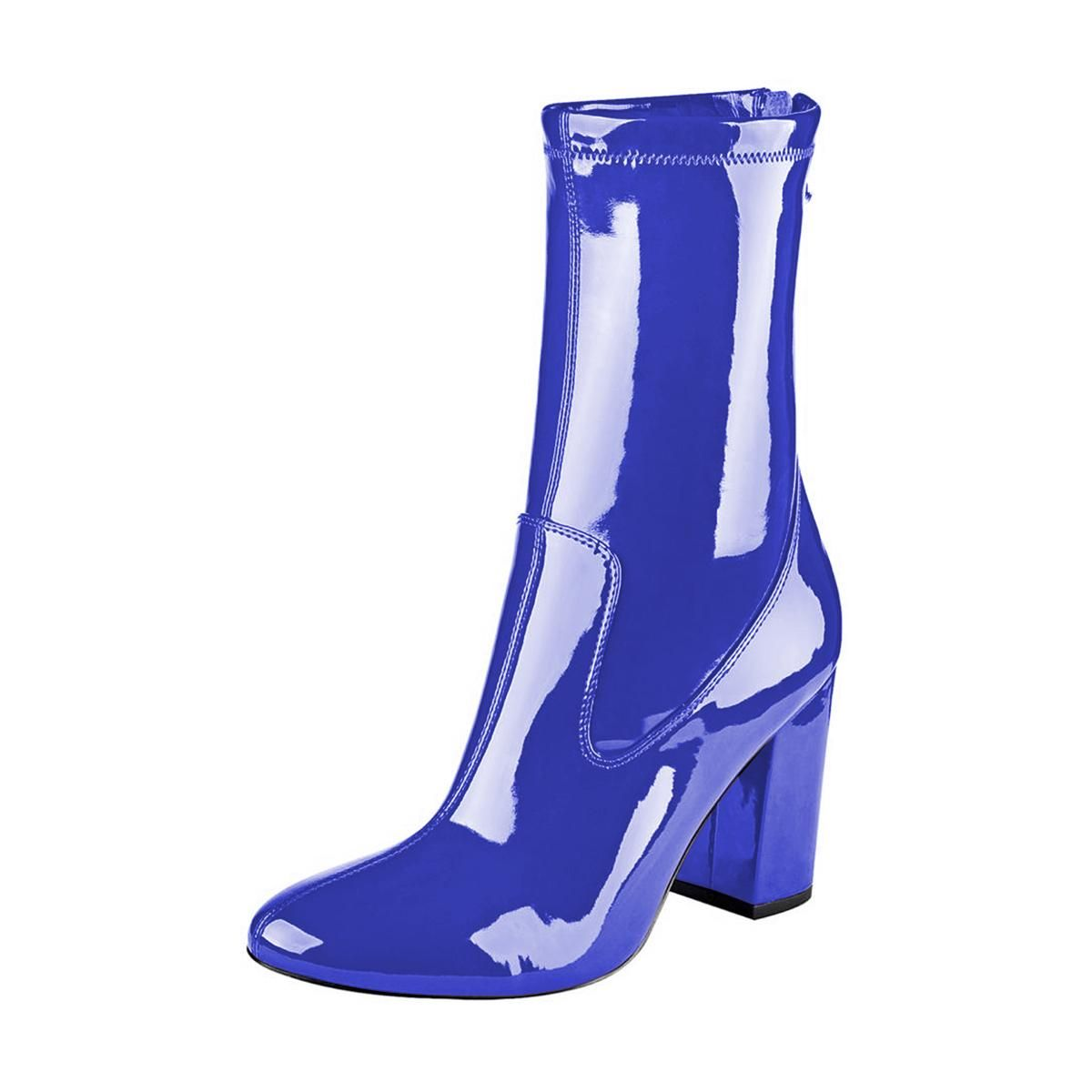 2554051c20a #FSJshoes - #FSJ Shoes Women's Royal Blue Patent Leather Chunky Heel Boots  - AdoreWe.com