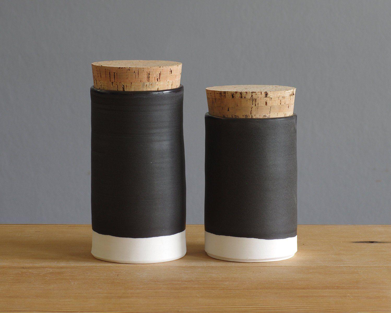 tall black white kitchen canisters modern lidded jar studio white