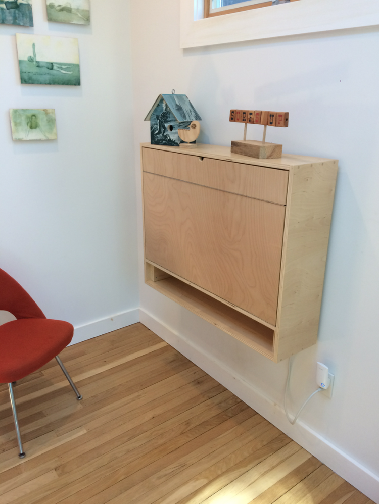 How to build a compact fold down desk for small spaces custom fold down desk in a closed - Folding desks for small spaces concept ...