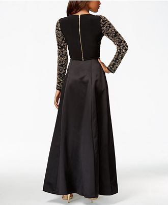 3799fbf50e1 Xscape Long-Sleeve Beaded Two-Piece Gown - Juniors Shop All Prom Dresses -  Macy s