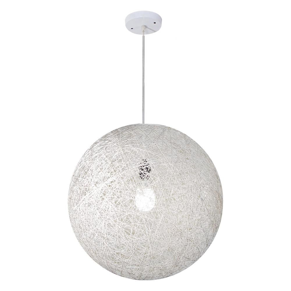 Bazz Vibe Collection 1 Light White Round Hanging Pendant