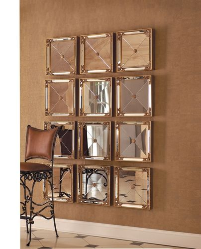 Set Of Four Square Mirrors Antiqued Mirror Glass Gold Leaf And Mirrored Side Panels Mirror Wall Decor Decor Mirror Decor