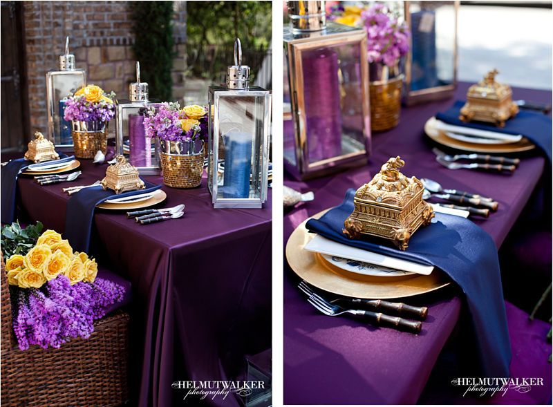 Table Inspiration Purple Navy Gold Wedding Reception Table