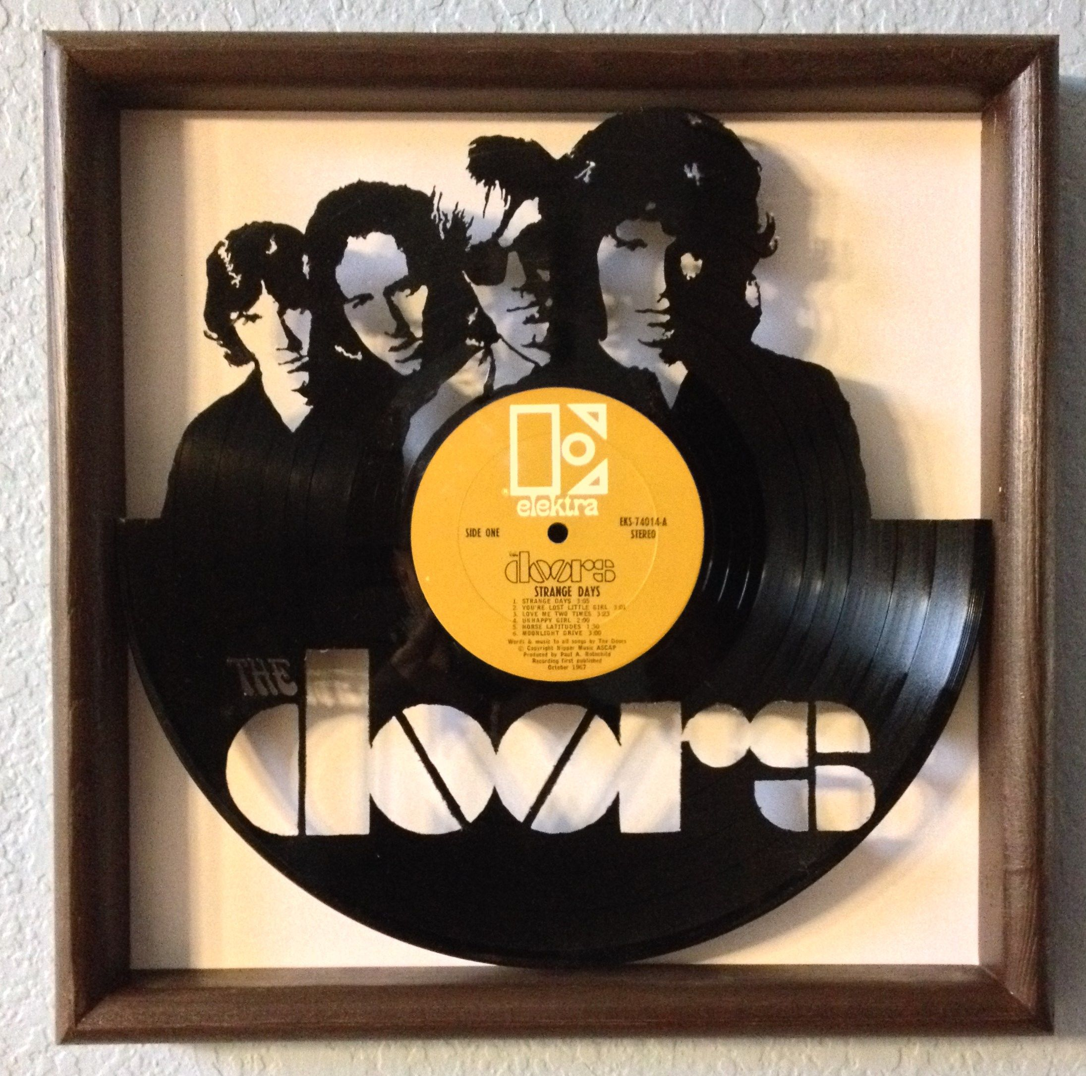 LP Vinyl Art - The Doors - hand cut from their record album \