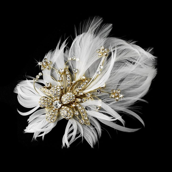 Gold Glamorous Gold Bridal Hair Clip with Brooch Pin and Clear Rhinestones & Ivory Feathers 456