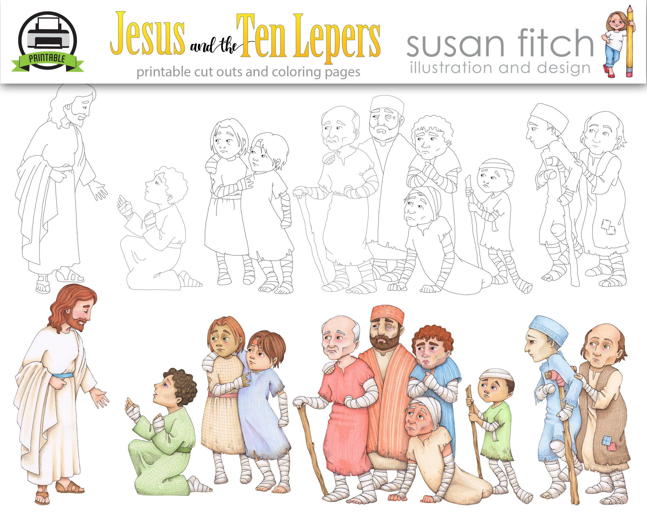 Jesus And The Ten Lepers Clip Art And Coloring Pages Clip Art