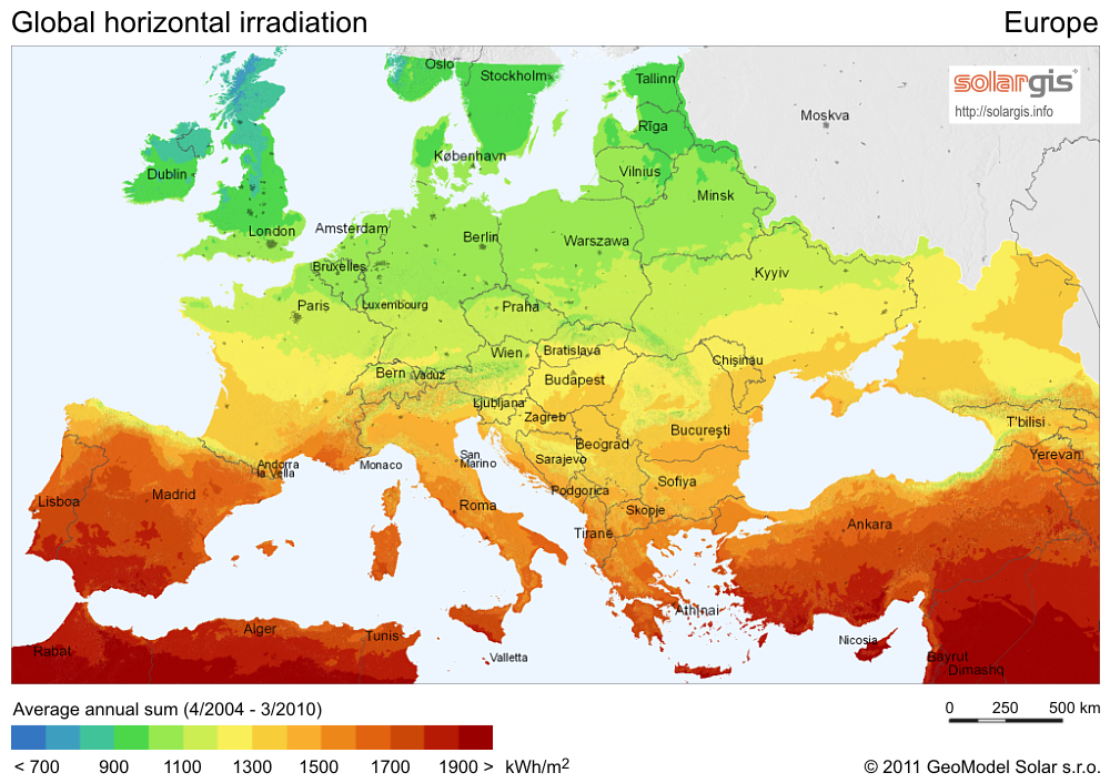 Https Upload Wikimedia Org Wikipedia Commons 5 59 Solargis Solar Map Europe En Png Map Europe Map Concentrated Solar Power