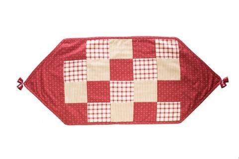 """Home for the Holidays 13"""" x 30"""" Patchwork Holiday Christmas Table Runner by Victorian Heart Co., Inc.. $14.95. Measures 13"""" x 30"""".. Coordinating Christmas stockings, tree skirts, tabletop, and home décor items also available.. 100% cotton.. Embroidered jingle bells, red rick rack, embroidery, and baked apple red windowpane fabrics highlight the classic tones in this pattern."""
