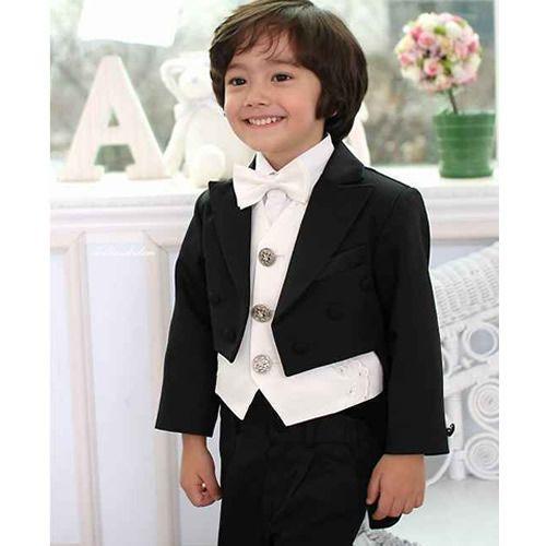 little toddler boys black white pink wedding tuxedo dress tail suit sku 132001