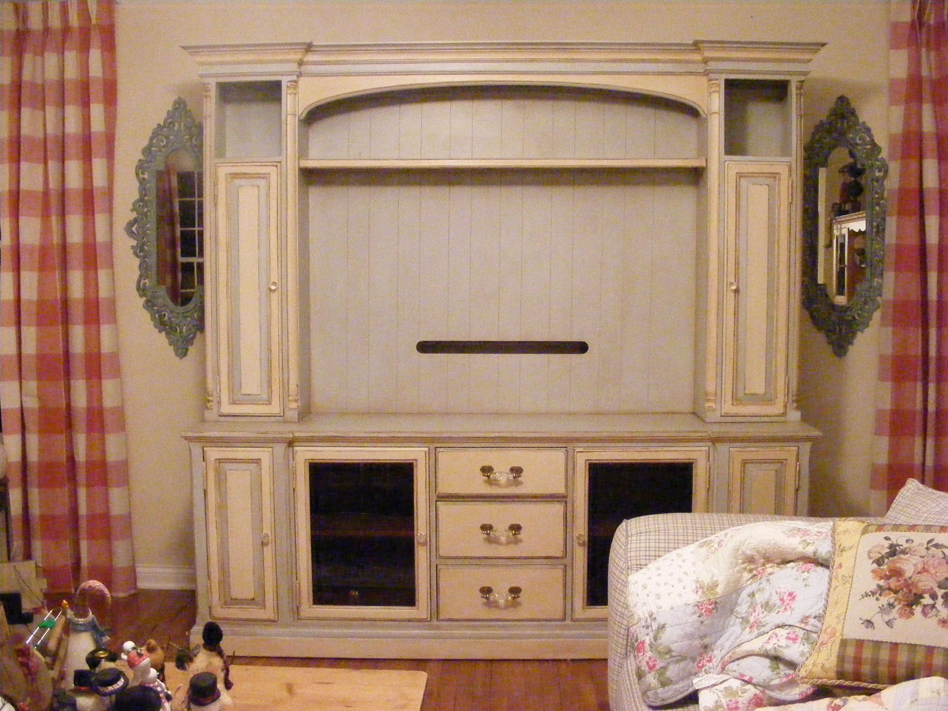 Painted furniture ideas shabby chic - Hand Painted Distressed And Glazed Shabby Chic Entertainment Center